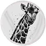 Pixels Round Beach Towel With Tassels featuring ''Giraffe In Black And White'' by Hailey E Herrera