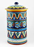 Hand Painted Italian Ceramic 13-inch Canister Geometrico 39E - Handmade in Deruta