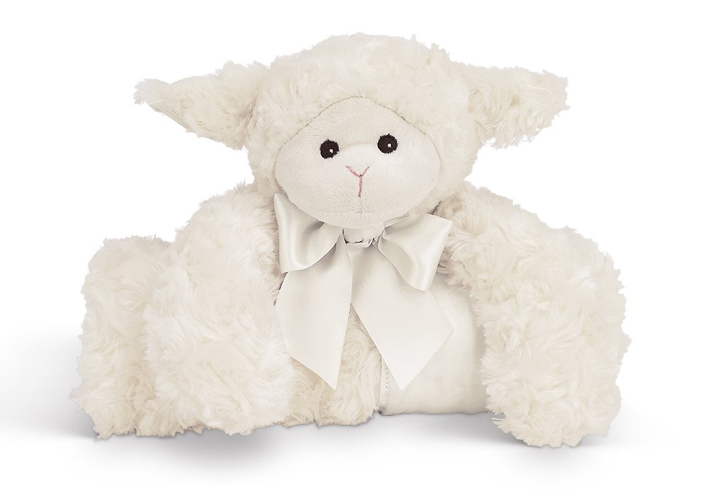 Bearington Baby Lamby Cuddle Me Sleeper, Cream Lamb Large Size Security Blanket, 28.5'' x 28.5''