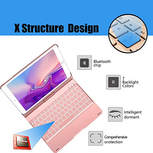 Keyboard for iPad 6th Generation 9.7inch (2018)-iPad 2017(5th Generation)-iPad Pro 9.7inch -iPad Air 2 &1, Wireless/BT-360 Rotatable -Breathing LED & 7 Colors Backlit - iPad Keyboard Case(Rose Gold) by Bosixty (Image #2)