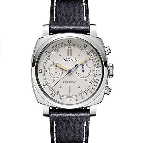 - Parnis 44mm Black Dial PVD Coated Case Luminous Full Chronograph Function Japanese Quartz Movement Men's Pilot Watch (White Dial)