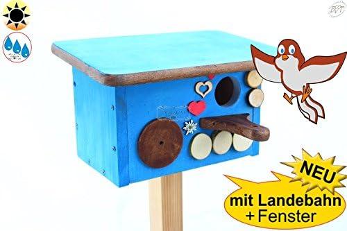 Wintervögel-Schutzhütte + Nistkasten Bayern-Design, Einflug ca. 32 mm (30-33 mm) für größere Meisenarten BTV Premium, auch als Schutzhütte Nistplatz, blau MIT LANDEBAHN und Dach in hell