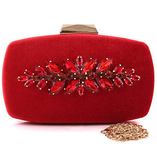 "Unze Unze Women""DONNA"" Evening Carved Brooch Shimmer Clutch Bag Red"
