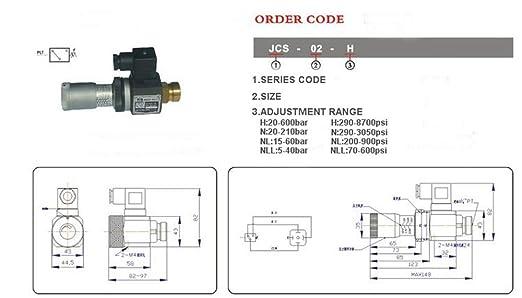 Beennex JCS-02H PT1//4 Hydraulic Pressure Switch Pressure Relay 5-35Mpa 50-350kg//cm2
