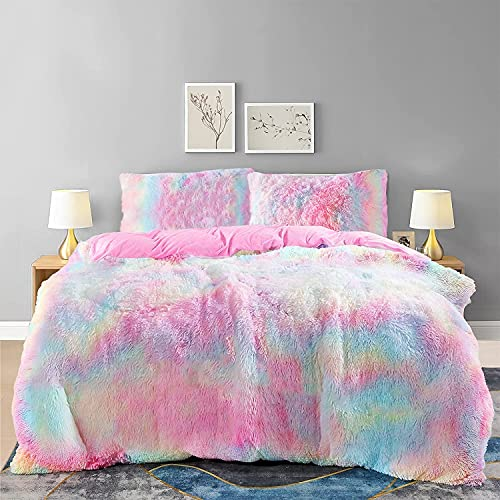 Bedding Duvet Cover Sets, Queen 3 Pieces Ultra Soft Shaggy Fluffy Comforter Cover Set, Warm Comfy Washed Durable Crystal Velvet Microfiber Bedding Set with 1 Duvet Cover, 2 Pillow Shams