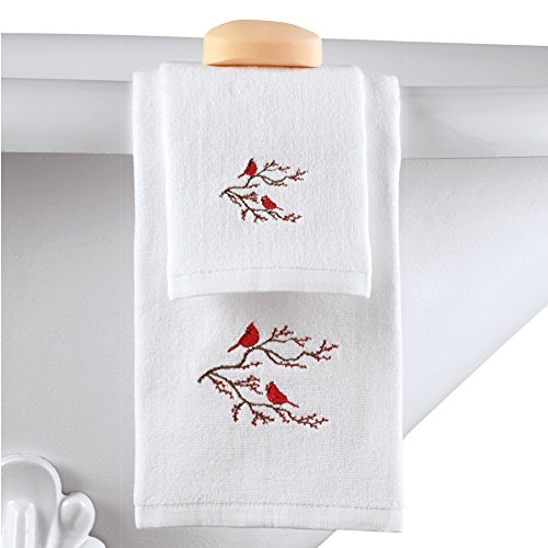Collections Etc 2pc Winter Cardinal Christmas Bathroom Towel Set