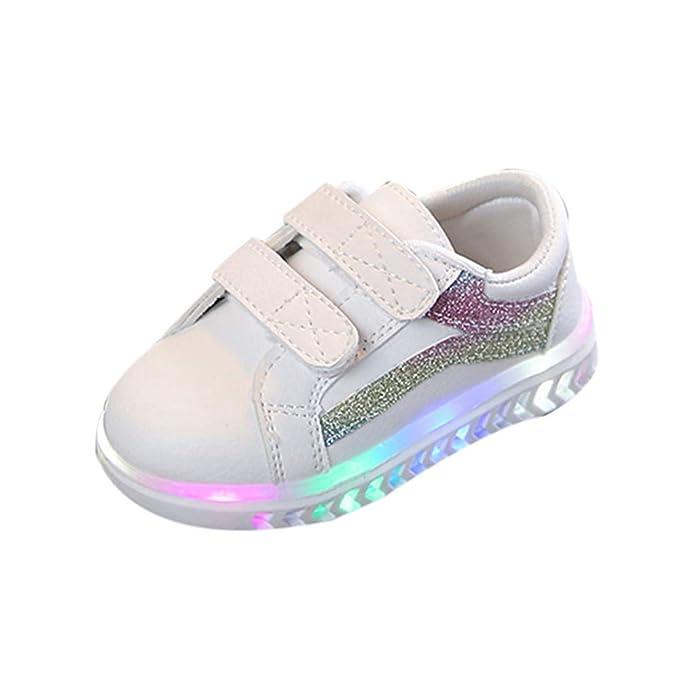 YanHoo Estrellas Velcro Luces LED Hombres y Mujeres Zapatos Ocasionales Zapatillas Brillantes Luces Zapatos Niños Bebés