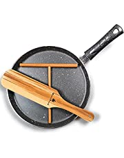 """Crepe Pan - With PFOA Free Nonstick Coating - Made in Europe Multi Coated Pan Great for Crepes, Omelets, Eggs, Pancake - Dishwasher Safe 10.23 Flat Grey"""" - With Wooden Crepe Spreader and Spatula Set"""