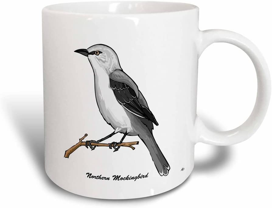 3dRose Birds Northern Mockingbird 3 Mug, 11 oz, Multicolor