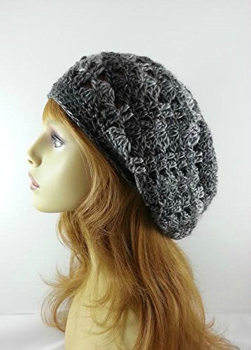Summer Hat for Women Gray Lightweight Crochet Slouchy Beanie Handmade in USA
