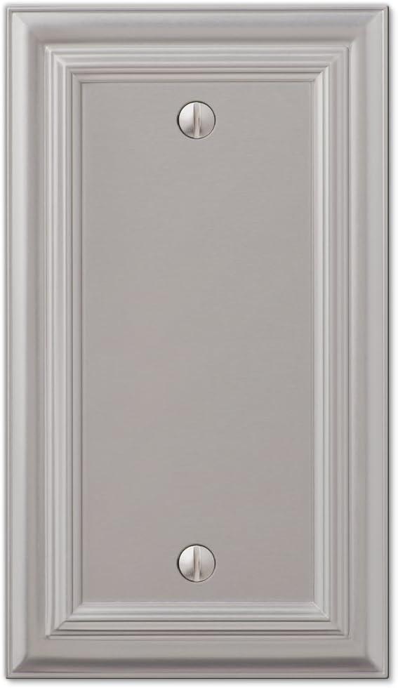 Amerelle Continental Single Blank Cast Metal Wallplate in Satin Nickel