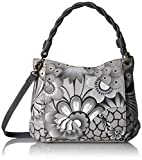 Anna by Anuschka Handpainted Leather Women's Slim Bag, Patchwork Pewter