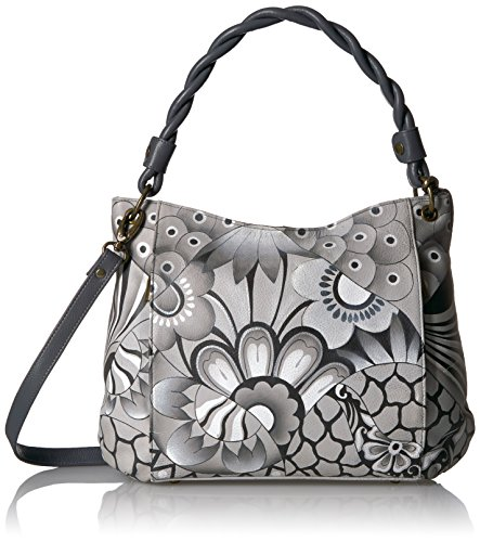 Anuschka Anna Handpainted Leather Women's Slim Bag, Patchwork Pewter by Anna by Anuschka