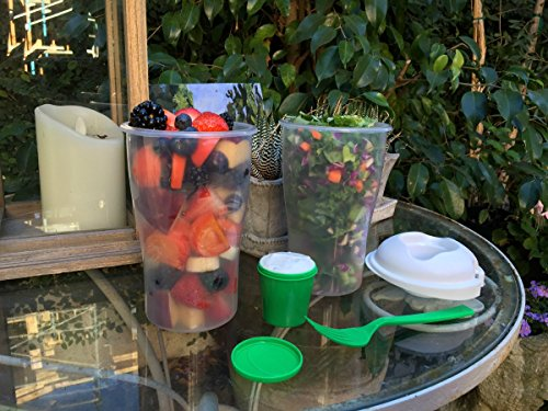 Buy Portable Salad Container 2 Pack For Lunch To Go Includes Plastic Salad Shaker with Free e-book, Plastic Dressing Containers and Forks Compact and Travel Friendly compare