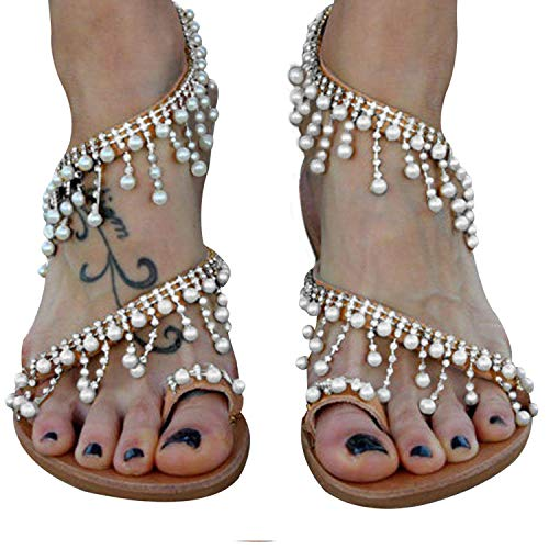 XMWEALTHY Women's Strappy Flat Sandals Bohemia Jeweled Toe Ring Gladiator Sandals Roman Shoes Silvery US 6.5 (Best Slip On Sandals 2019)