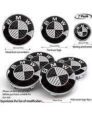 7pcs BMW Carbon Fiber Emblem,BMW Wheel Center Caps Hub CapsX4,BMW Emblem Logo Replacement for Hood/Trunk,BMW Steering Wheel Emblem Decal (Grey)