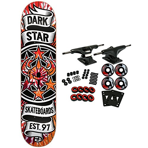 (Darkstar Skateboard Complete Civil Emboss TieDye Orange 8.25