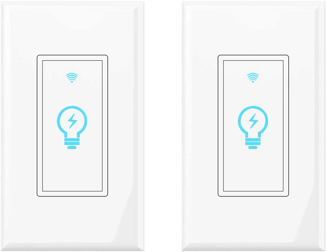 WiFi Light Switch Smart Light Switch Alexa Compatible with Google Home, Smart Wall Switch with Remote Control, Schedule Timer, Neutral Wire is Needed, KULED Touch Light Switches 2Pack
