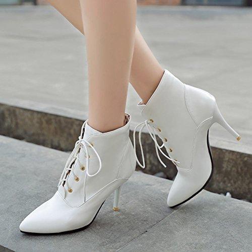 Heel Stiletto Pointed Chic Dress Boots Carolbar Elegant White Toe High Women's x0qxXfB