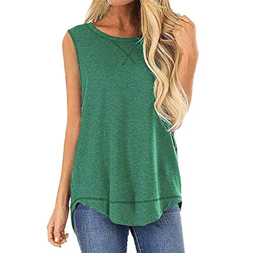 Emimarol Women Blouse Summer Sleeveless Vest Shirt Casual Solid Tunic Tops Blouse Green