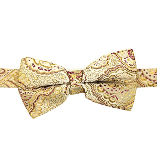 Ferrecci Mens Luxury Paisley Tapestry Gold Bow Tie