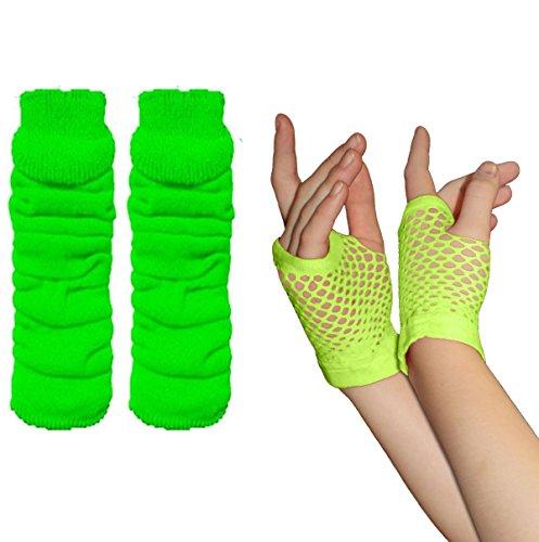 Adults Short & Long Fingerless Fishnet Gloves & Leg Warmer Set raves Parties 1980s Fancy Dress - Pick & Mix (Leg Warmer & Small Fishnet Gloves - Green)