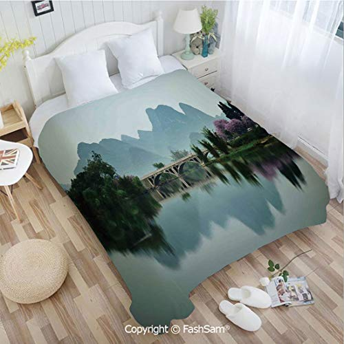 (PUTIEN Unique Rectangular Flannel Blanket Japanese National Park Bridge Reflections of The Mount on The Lake Scenery for Fun Playroom Decorations(49Wx78L))