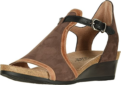 NAOT Footwear Women's Fiona Wedge Sandal Coffee/Brown Combo 6 M US