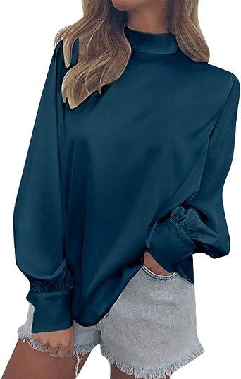 Minetom Blusa Mujer Casual Moda Manga Larga Camiseta Tops Pullover Cuello Alto Otoño Gasa Camisa Elegante