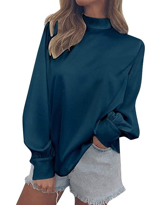 Minetom Blusa Moda Patchwork Casual para Mujer Color Block O-Neck Manga Larga Camiseta Tops