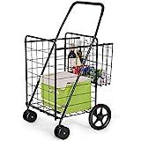 Goplus Folding Shopping Cart Jumbo Double Basket Perfect for Grocery Laundry Book Luggage