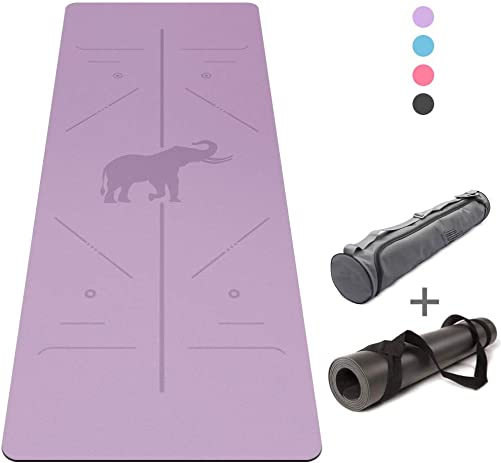 Jaoul Non Slip Yoga Mat with Alignment Lines, 5mm Thick Eco Friendly Natural Rubber Yoga Mats for Workout Exercise Bikram Pilates Hot Yoga Mat with Carrying Strap Bag, 72.0 x 26.8
