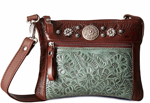 American West Women's Turquoise Trail Rider Crossbody Purse Turquoise One -