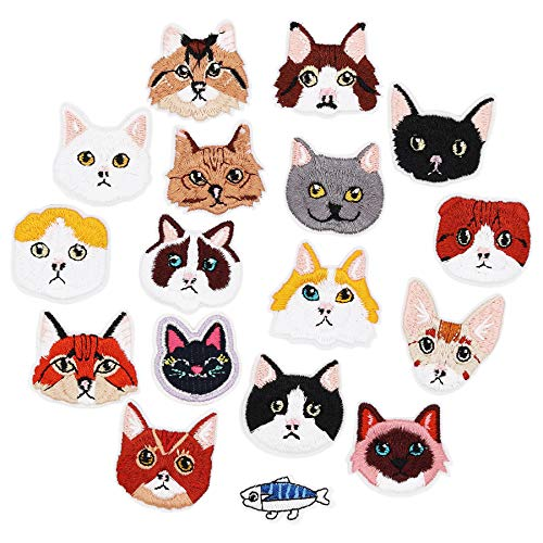 17pcs Cat and Fish Iron On Patches Embroidered Motif Applique Assorted Size Decoration Sew On Patches Custom Patches for DIY Jeans,Jacket,Kid's Clothing,Bag,Caps, Arts Craft Sew Making (Kitten - Scottish Cat