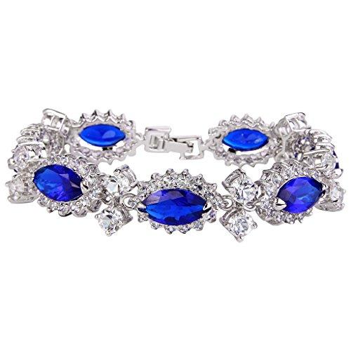 Box Austrian Crystal (EVER FAITH Women's CZ Austrian Crystal 7 Marquise-shape Flower Tennis Bracelet Royal Blue Silver-Tone)