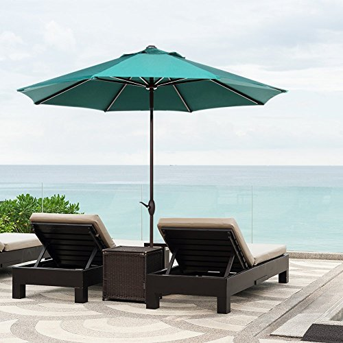 Amazon.com : Abba Patio 9u0027 Patio Umbrella Market Outdoor Table Umbrella  With Auto Tilt/Crank, 8 Ribs, Dark Green : Garden U0026 Outdoor