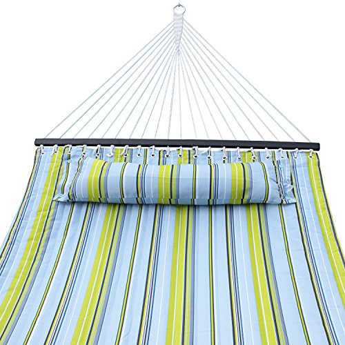Super Deal Hammock Quilted Fabric with Pillow Double Size Spreader Bar Heavy Duty Stylish 450lbs Capacity (blue/green)