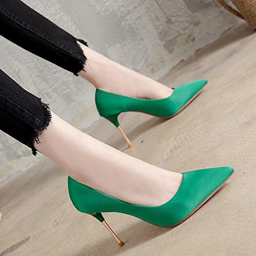 de 9 con Zapatos alta de 3 de calidad Moda Verano Zapatos colores Zapatos elegantes CM opcionales tacón Feifei Material mujer Verde alto de banquete alta BqwRfv