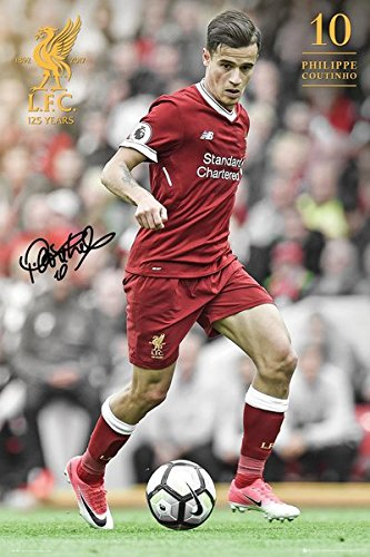 """FC Liverpool - Soccer Poster / Print (Philippe Coutinho - Season 2017 / 2018) (Size: 24"""" x 36"""") (By POSTER STOP ONLINE)"""