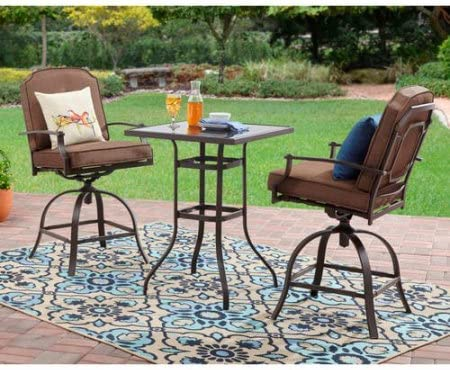 3-Piece Includes 2-Chairs and 1-Table Steel Frame High Outdoor Bistro Set