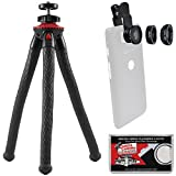 Fotopro UFO2 Flex Pod Tripod with Smartphone Adapter & Bluetooth Remote (Black/Red) with 3-in-1 Clip-on Fisheye, Macro & Wide Lens Set + Kit