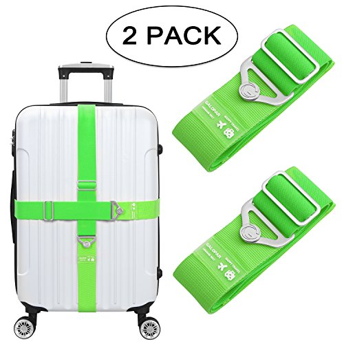 Elastic Luggage Straps, Galopar Suitcase Belt Adjustable Elastic Luggage Strap Travel Accessories Holiday Essentials-2 Pack (Green) (Neon Luggage Straps)