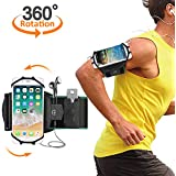 "Running Armband, Comsoon 360° Rotatable Sports Armband for iPhone XS Max/XR/X/8 Plus/8/7, Galaxy Note 9/S9 Plus/S9 & Other 4""-6.5"" Smartphone, Phone Armband with Key Holder for Hiking Jogging (Black)"