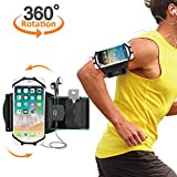 """Running Armband, Comsoon 360° Rotatable Sports Armband for iPhone X/8 Plus/8/7/6s, Galaxy S9 Plus/S9/S8/S7 & Other 4""""-6.5"""" Smartphone, Phone Armband with Key Holder for Hiking Biking Jogging (Black)"""