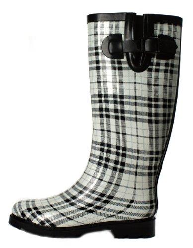 Wellies Mid Women's Boots Rain White OwnShoe Plaid Calf SXPxg5w