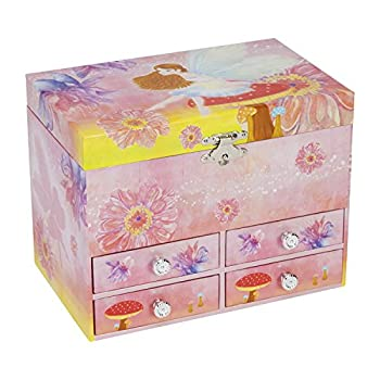 JewelKeeper Fairy and Flowers Large Musical Jewelry Storage Box with 4 Pullout Drawers, Girls Jewel Box, The Spring Tune