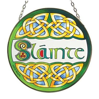 Irish Slainte Suncatcher - Irish stained glass window hanging. Irish gift designed in Galway Ireland.
