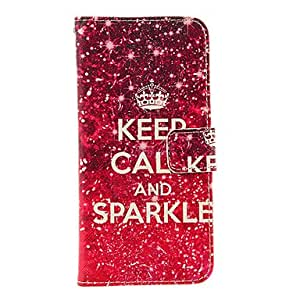 """Mini - Keep Calm and Sparkle Pattern TPU Back Cover PU Full Body Case with Stand and Card Slots for iPhone 6(4.7"""")"""