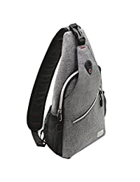 Mosiso Sling Backpack, Durable Polyester Water Repellent Chest Shoulder Unbalance Gym Fanny Lightweight Crossbody Sack Satchel Outdoor Hiking Bag for Men Women Girls Boys Travel Daypack, Gray