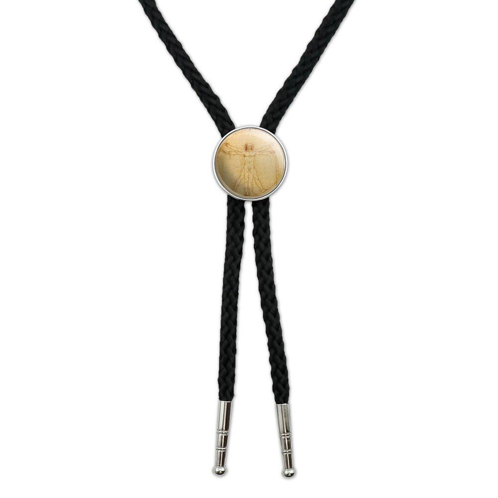 Leonardo Da Vinci The Vitruvian Man Western Southwest Cowboy Necktie Bow Bolo Tie